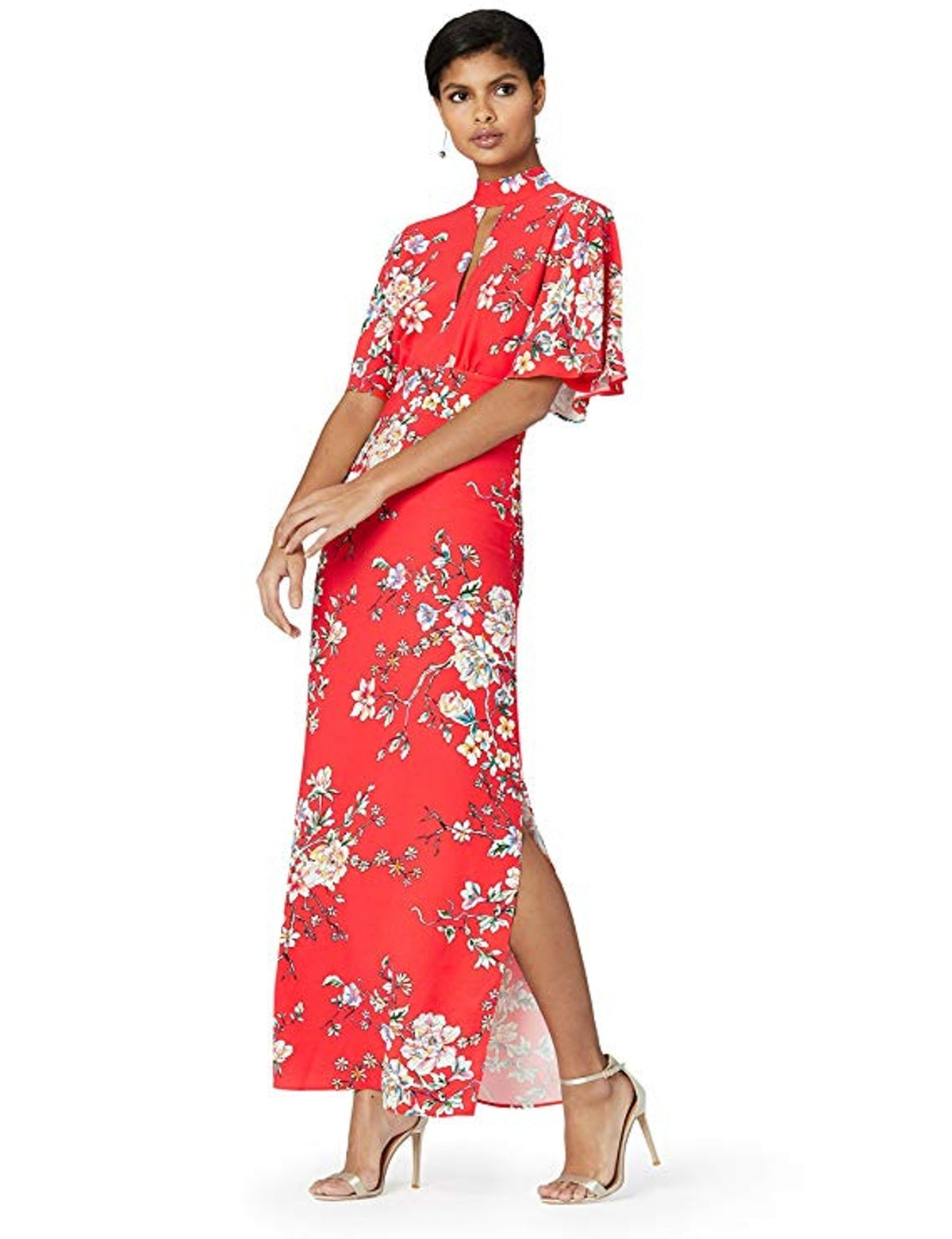 Truth & Fable Printed Keyhole Maxi Dress