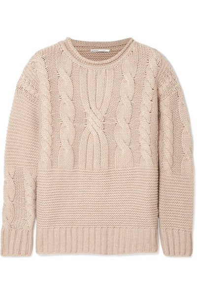 Ribbed Cable-Knit Cashmere Sweater