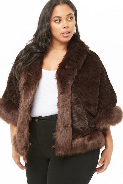 Plus Size Faux Fur Poncho