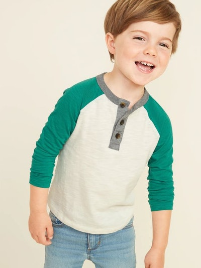 Old Navy Color-Blocked Slub-Knit Henley for Toddler Boys