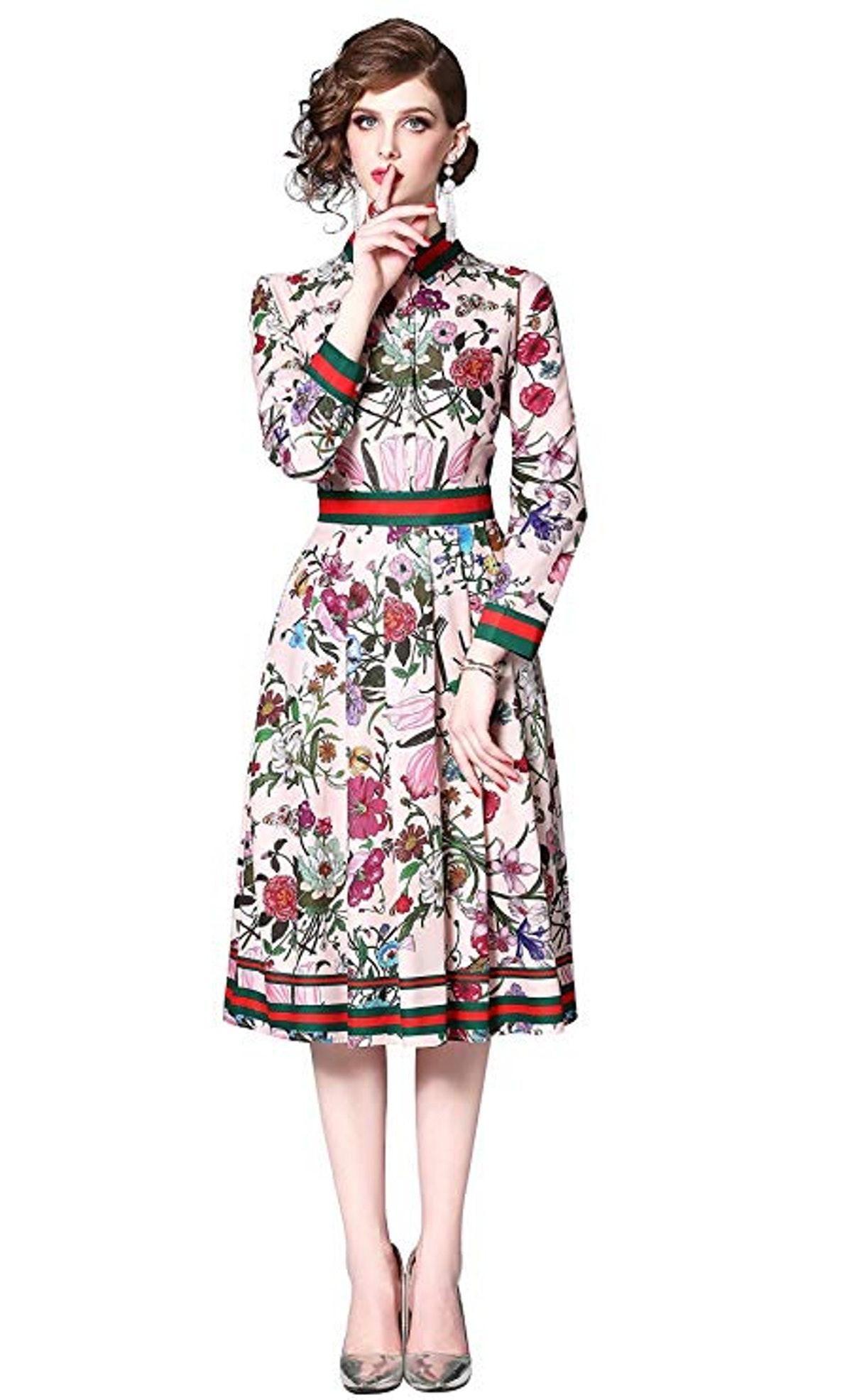 Lai Meng Five Cats High Neck A-Line Midi Dress