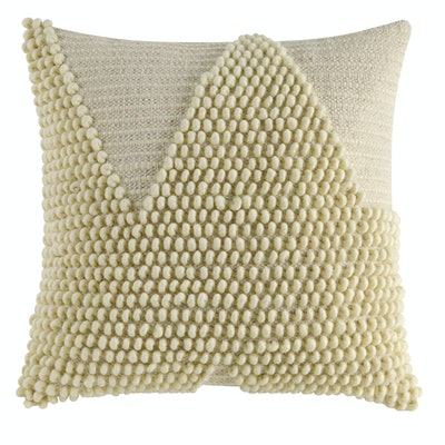"Better Homes & Gardens Handcrafted Looped Triangle Decorative Throw Pillow, 18""x18"", Ivory"