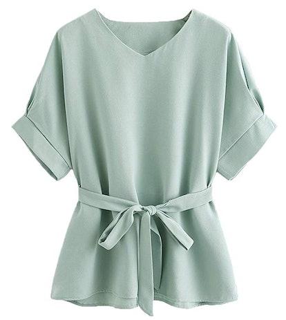Milumia Self-Tie Short Sleeve Blouse