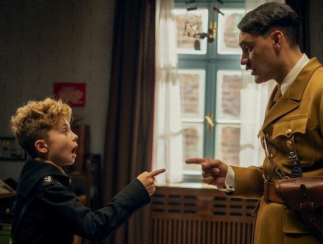 Roman Griffin Davis and Taika Waititi as Jojo and Adolf Hitler in 'Jojo Rabbit'