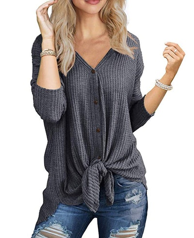 Slouchy Waffle Knit Henley