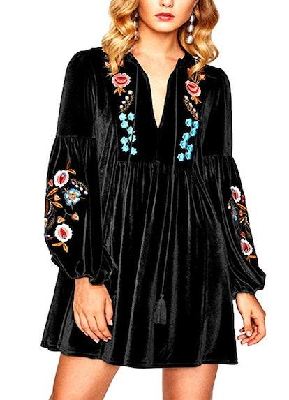 Roii Boho Embroidered Velvet Dress