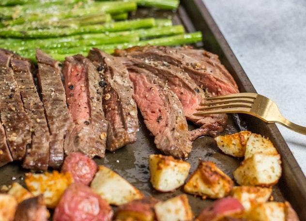 sheet pan recipes with steak, parmesan crusted steak sheet pan dinner