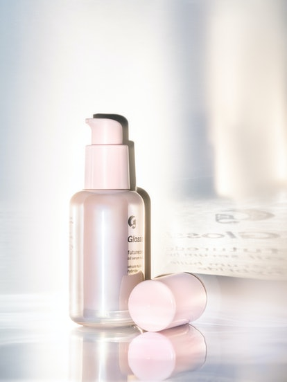 Glossier Futuredew can be worn under makeup or alone for a glowing skin look.
