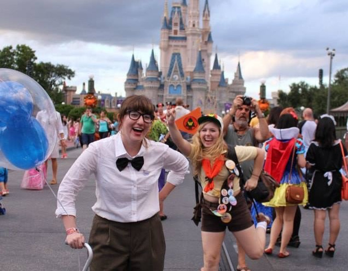 Friends dressed up like Carl and Russell from 'Up' need Disney costume captions for whatever pictures they take.