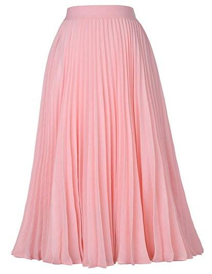 Kate Kasin Pleated A-Line Swing Skirt