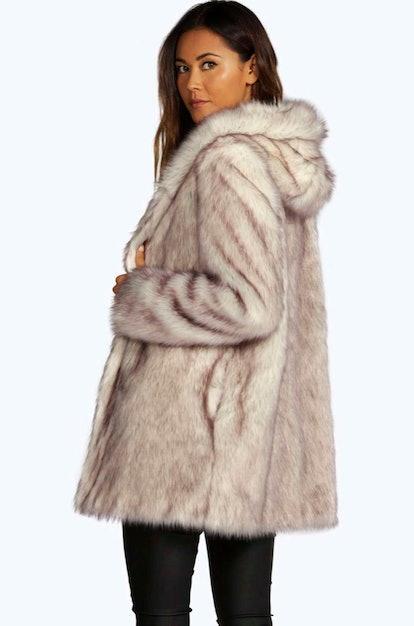 Boutique Hooded Faux Fur Coat