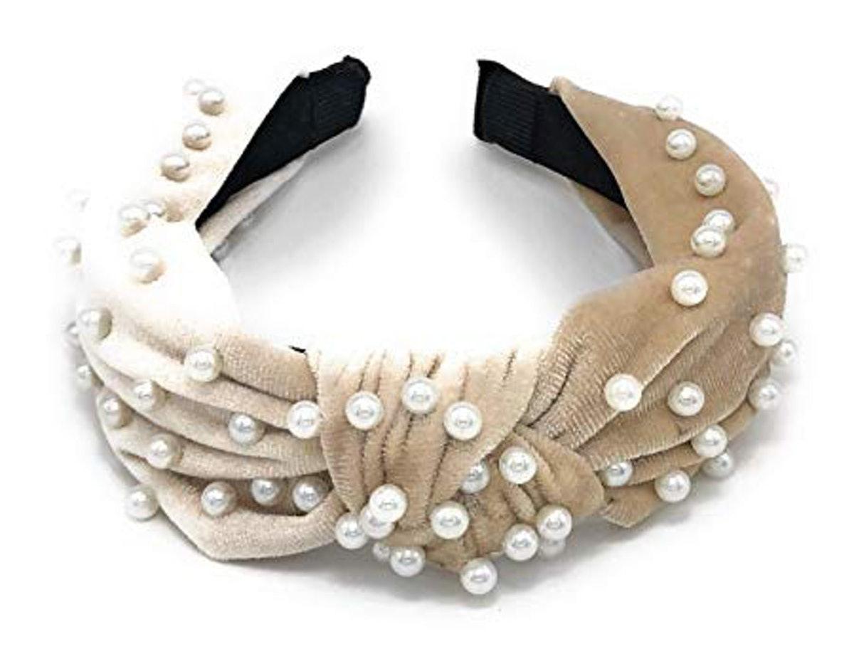 Pearl-Studded Velvet Headband