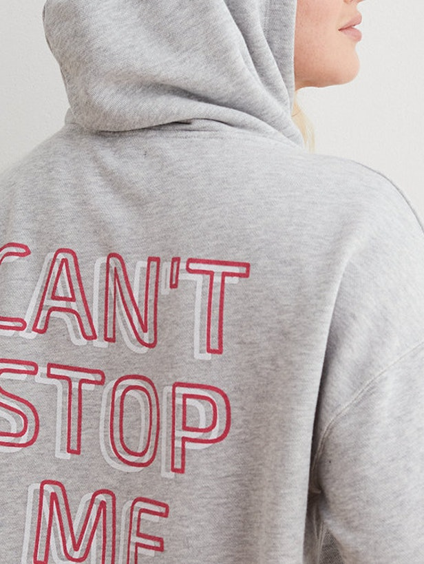 """Aerie Hoodie With Slogan """"Can't Stop Me"""" Printed On The Back"""