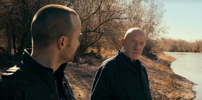 Aaron Paul as Jesse Pinkman and Jonathan Banks as Mike Ehrmantraut in 'El Camino: A Breaking Bad Movie'