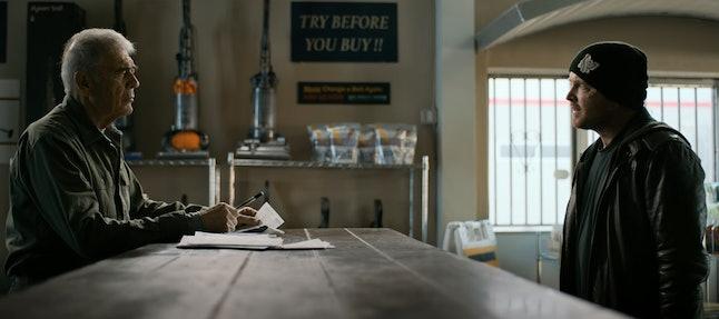 Robert Forster as Ed Galbraith and Aaron Paul as Jesse Pinkman in 'El Camino: A Breaking Bad Movie'