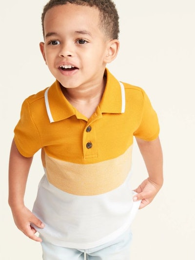 Old Navy Built-In Flex Color-Blocked Pique Polo for Toddler & Baby