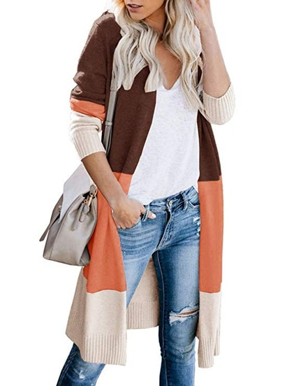 Color Blocked Duster Cardigan