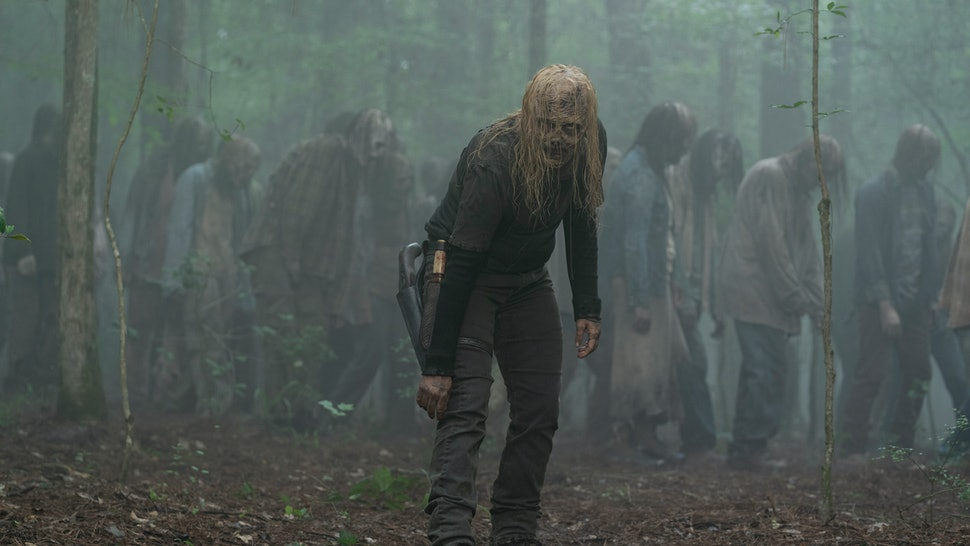 Samantha Morton as Alpha wearing a walker mask in The Walking Dead