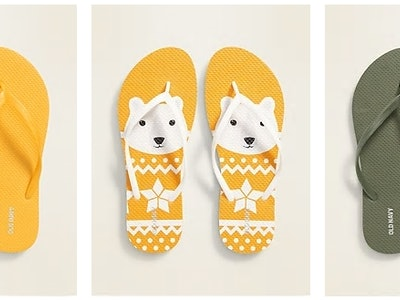 three pairs of old navy flip flops on sale for Columbus day
