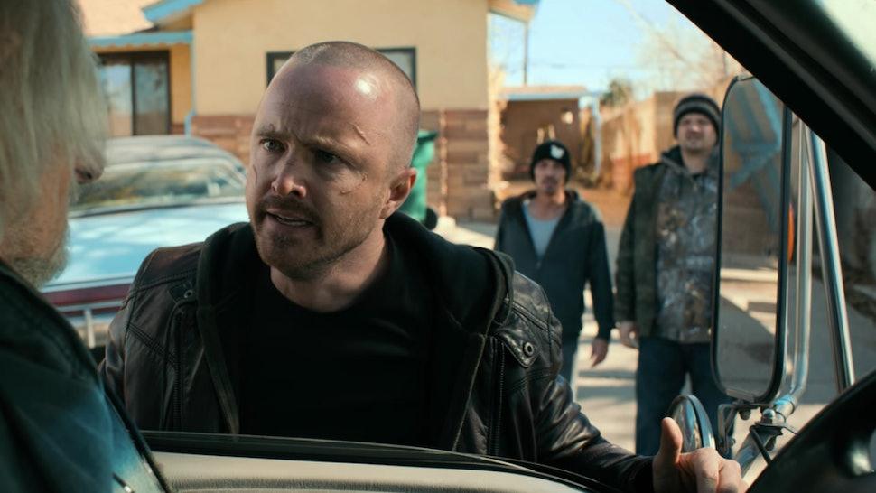 Aaron Paul, Charles Baker, and Matt Jones as Jesse Pinkman, Skinny Pete, and Badger in El Camino: A Breaking Bad Movie