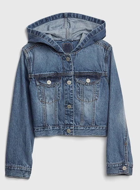 Kids Icon Hoodie Crop Denim Jacket