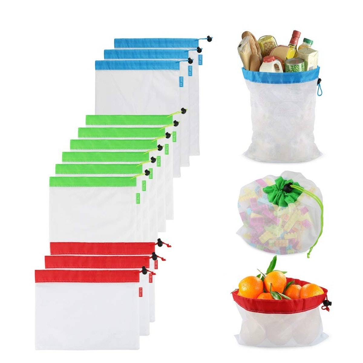 SMTFCO Reusable Produce Bags (12-Piece Set)