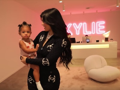 Kylie Jenner holds daughter, Stormi, after giving a tour of her office.