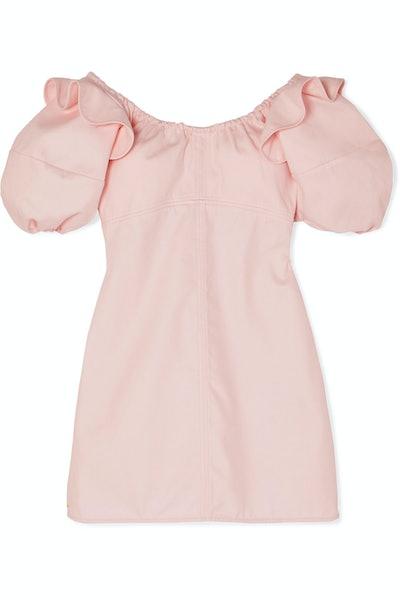Valeria Ruffled Cotton-Twill Mini Dress