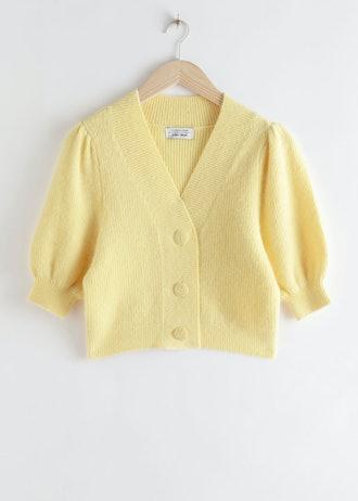 Puff Sleeve Wool Blend Cardigan