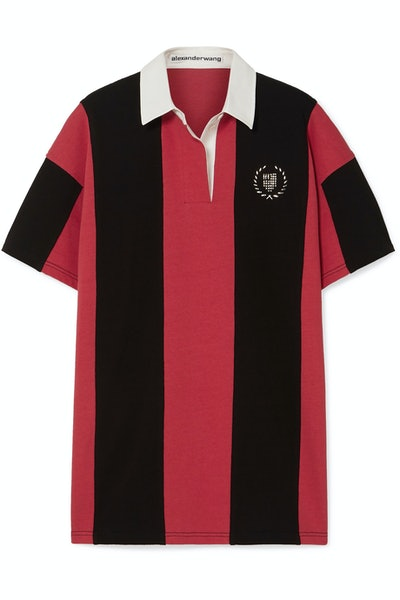 Oversized Embellished Striped Cotton-Jersey Polo Shirt