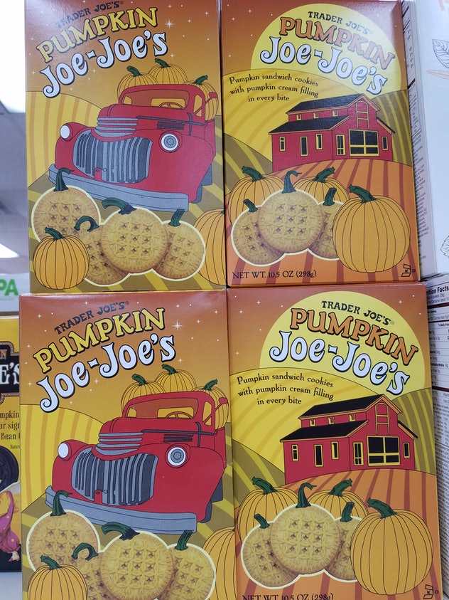Trader Joe's Pumpkin Joe-Joe's are a pumpkin spice sandwich cookie.