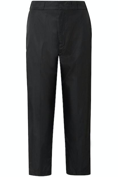 Cropped Taffeta Straight-Leg Pants