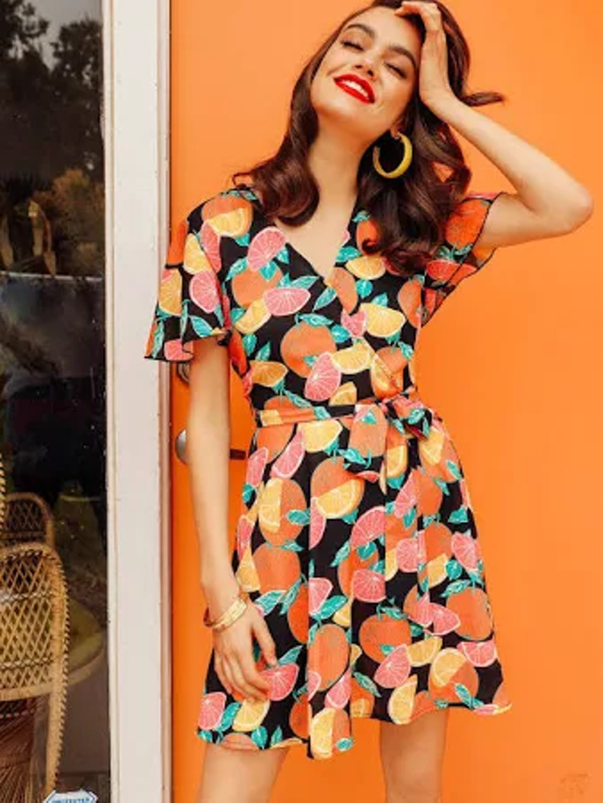 SHEIN Surplice Neck Fruit Print Belted Flare Dress