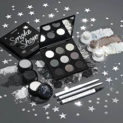 Eyeshadow palette, glitter, and liner from ColourPop's new collection, The Smoke Show