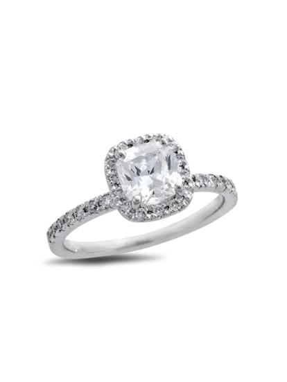 Certified Cushion-Cut Diamond Frame Engagement Ring