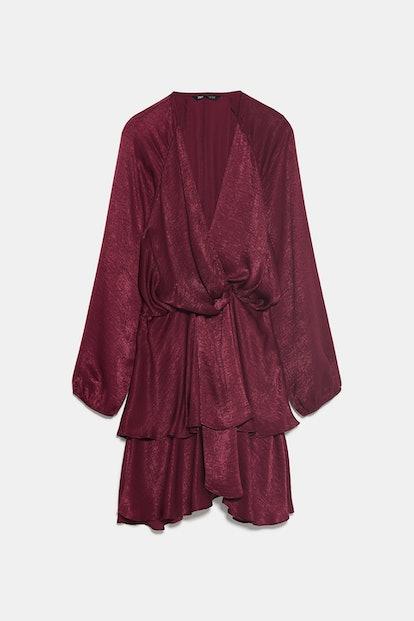 Ruffled Satin Effect Dress