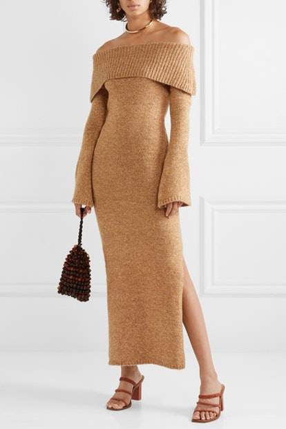 Mariel Off-the-Shoulder Knitted Maxi Dress