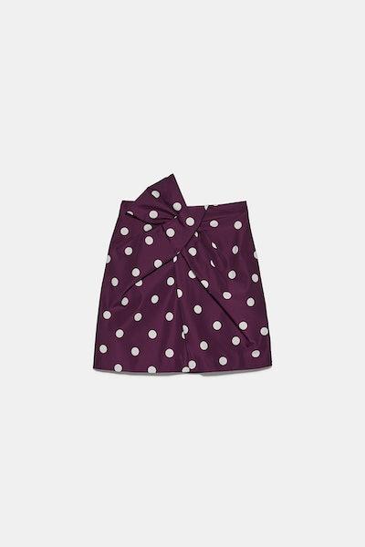 Polka Dot Taffeta Mini Skirt
