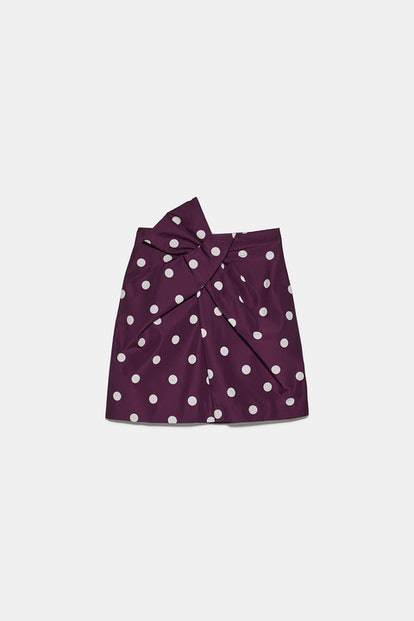 Polka Dot Taffeta Mini Skirt