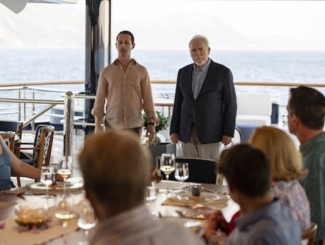 Brian Cox as Logan and Jeremy Strong as Kendall face off in the Succession finale