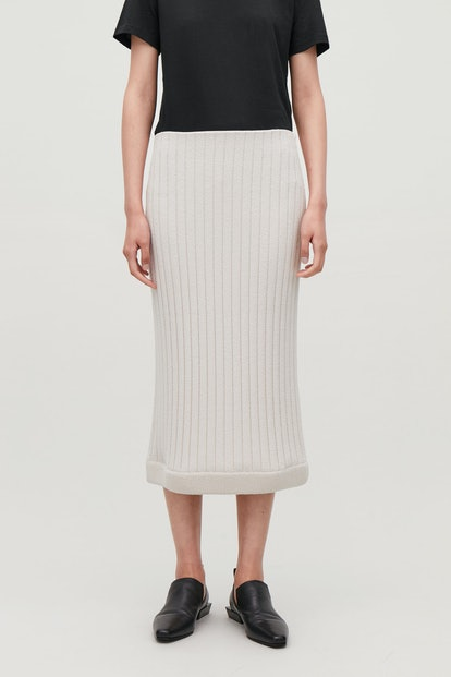 Ribbed Knit Long Skirt
