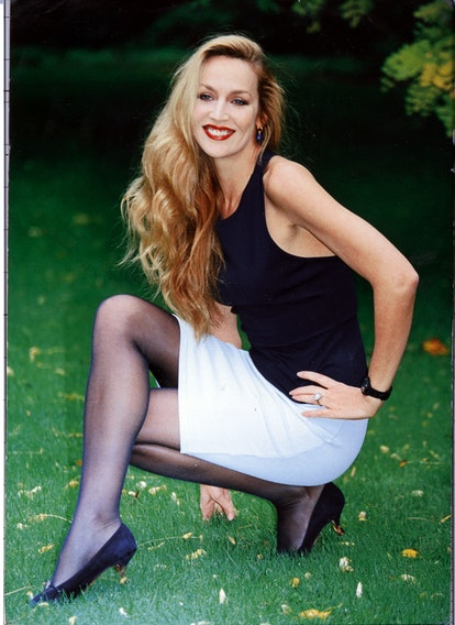 sheer tights on Jerry Hall