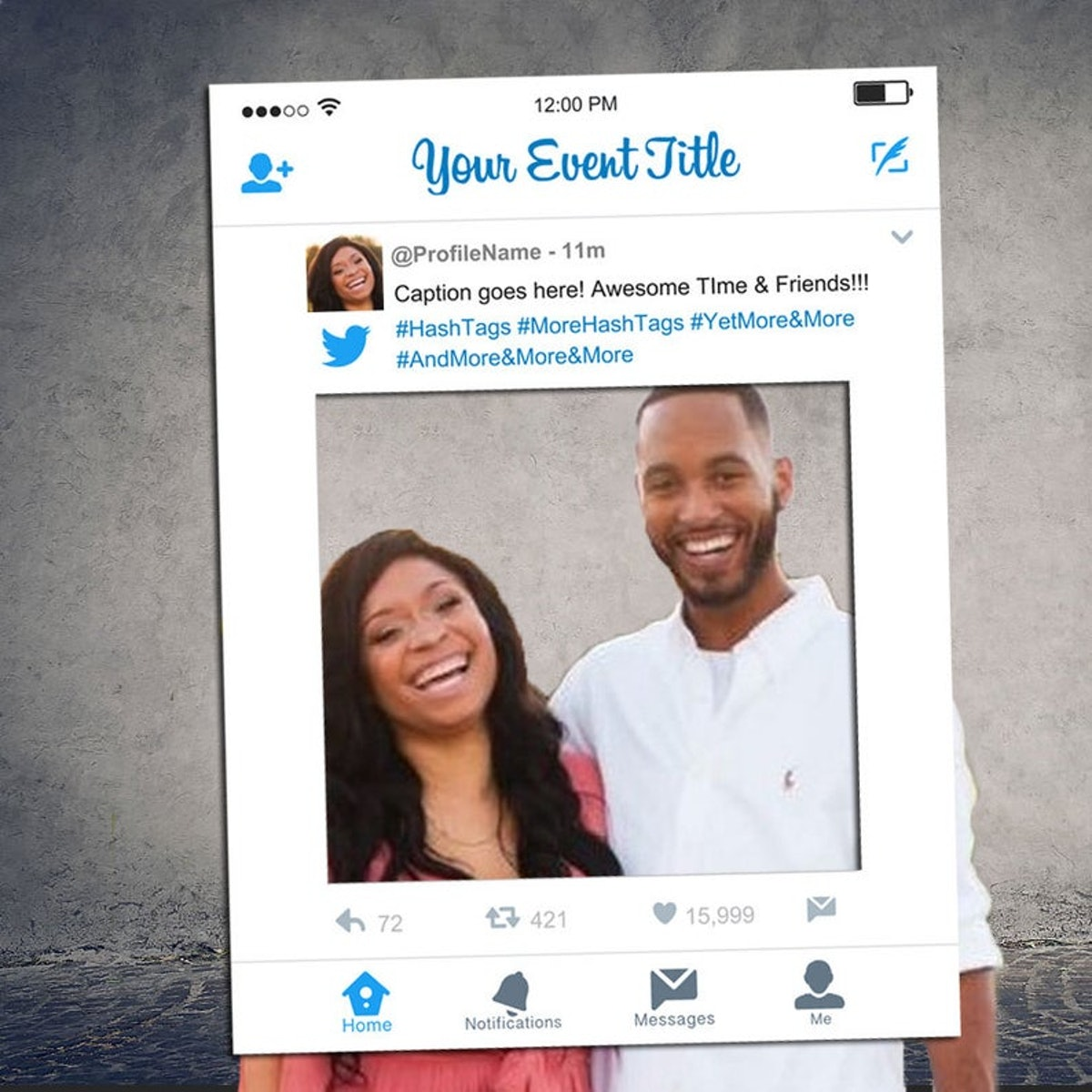 Customized Twitter Selfie Frame, Twitter prop for parties, Twitter Cutout [Printed, MOUNTED, Shipped]