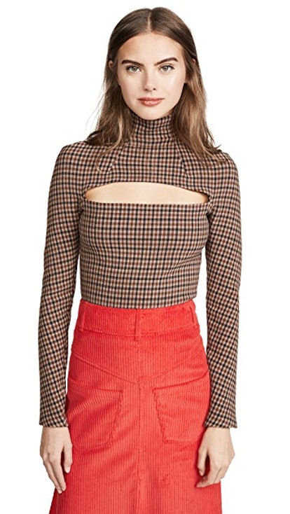 Gingham Mailbox Turtleneck Top