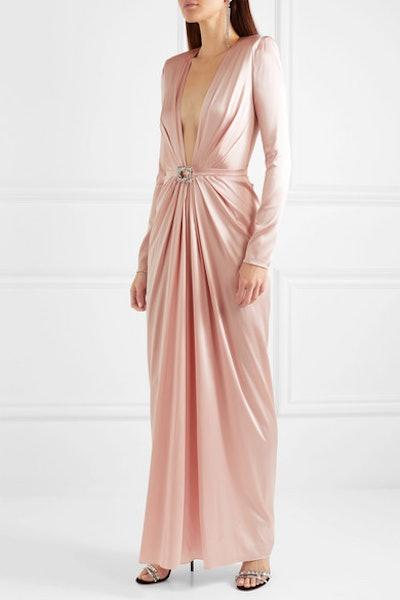 Embellished Draped Silk-Blend Satin Gown