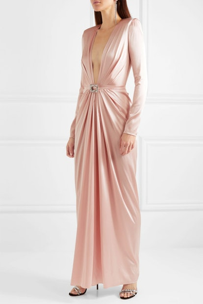 Embellished Draped Silk-Blend Satin Gown
