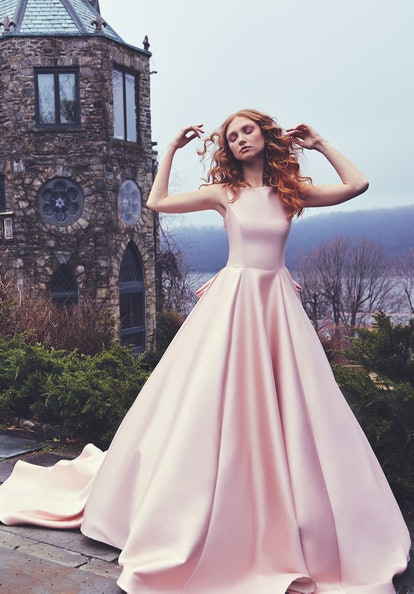 Brooklyn Bateau Neck Ballgown with Cathedral Train