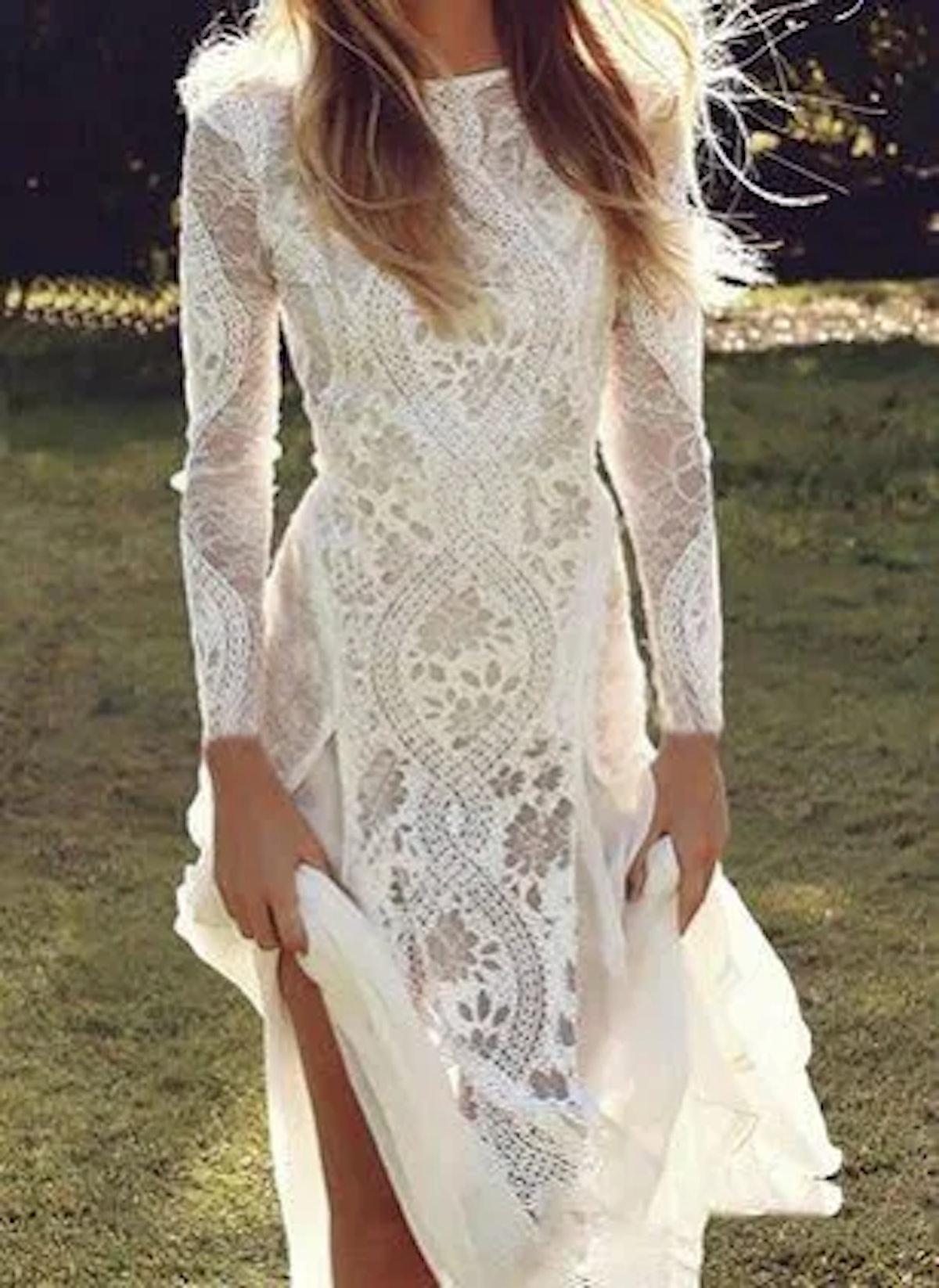 Solid Lace Round Neckline Maxi Bodycon Dress