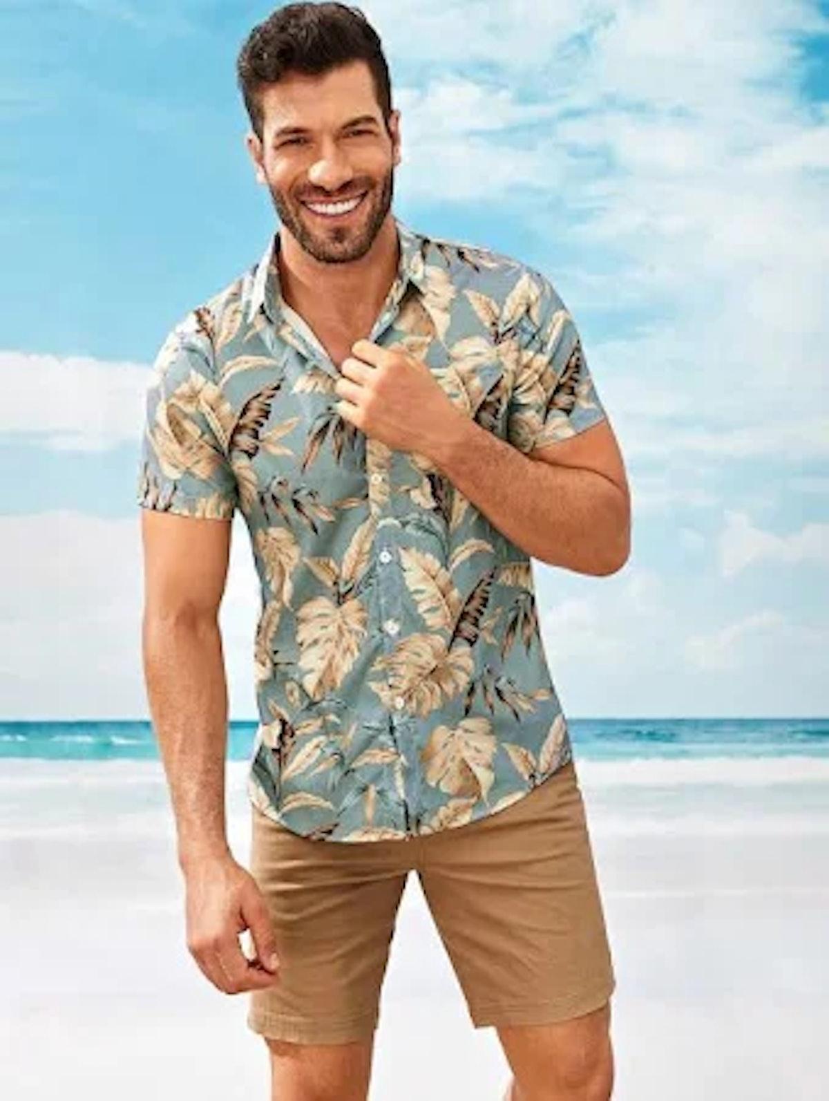 Men Tropical Print Hawaiian Shirt
