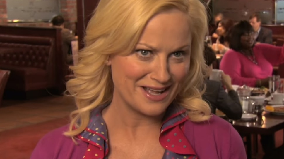 Leslie Knope celebrating Galentine's Day on Parks & Recreation.